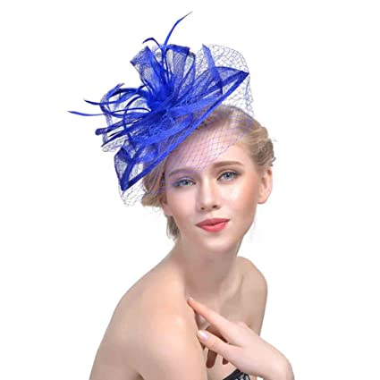 b62ebe3c71b Buy Leoie Women Bowler Headdress Hair Ornaments Flower Little Hat for  Wedding Party Decor Lady Little Hat Online at Low Prices in India -  Amazon.in