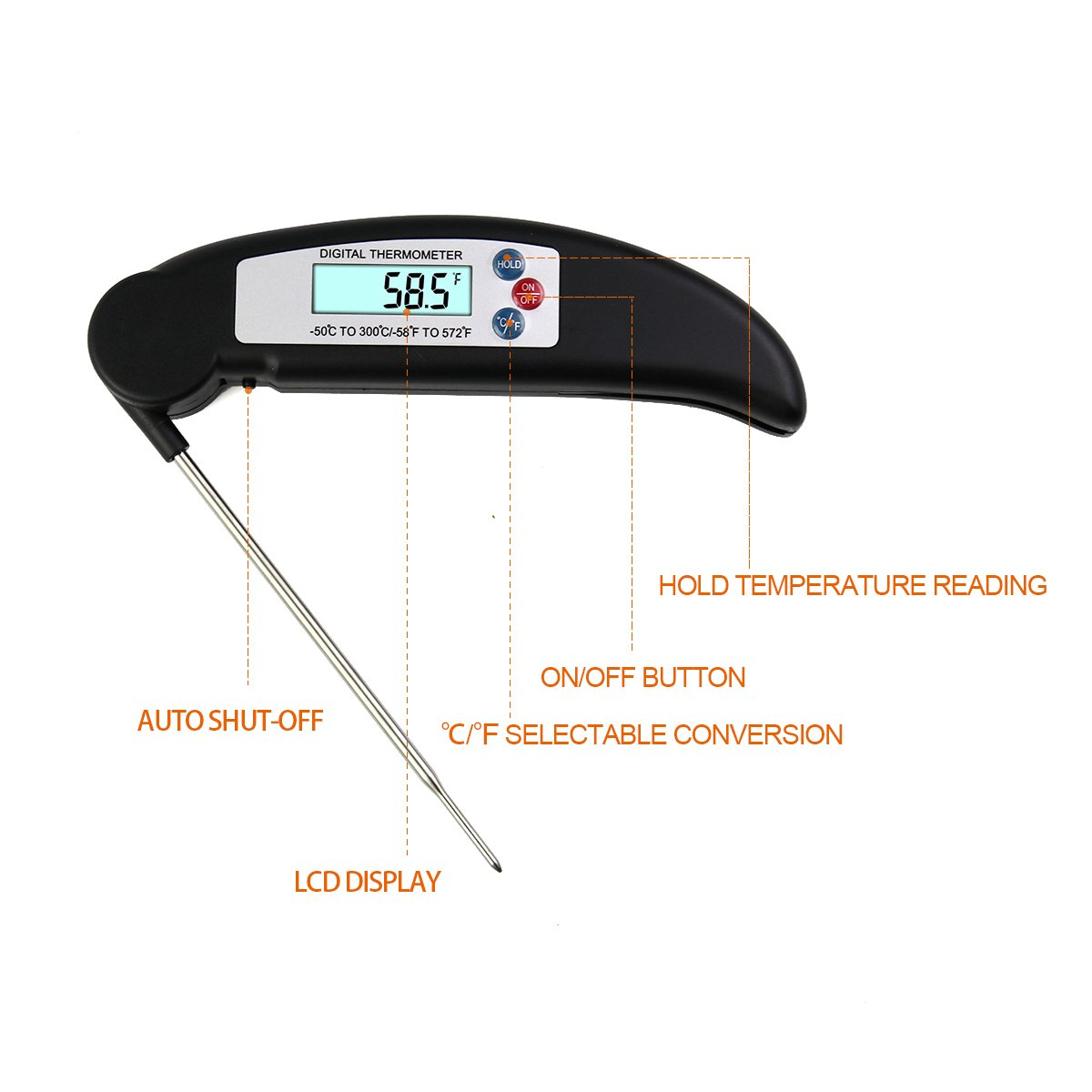 ALLESCOOL Digital Food Thermometer, Instant Read Meat Thermometer with Foldable Probe,Probe for Kitchen Cooking, BBQ, Poultry, Grill Food, Fast & Auto On/Off(black)