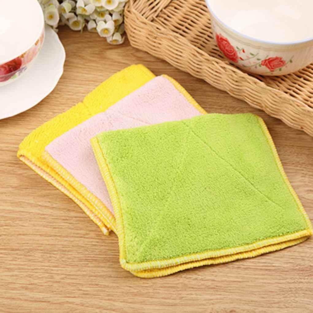 Omkuwl Double-sided Microfiber Dish towels Thickening Cloth Dish Nonstick Oil Absorbent Kitchen Towelsgreen&yellow by Omkuwl (Image #4)