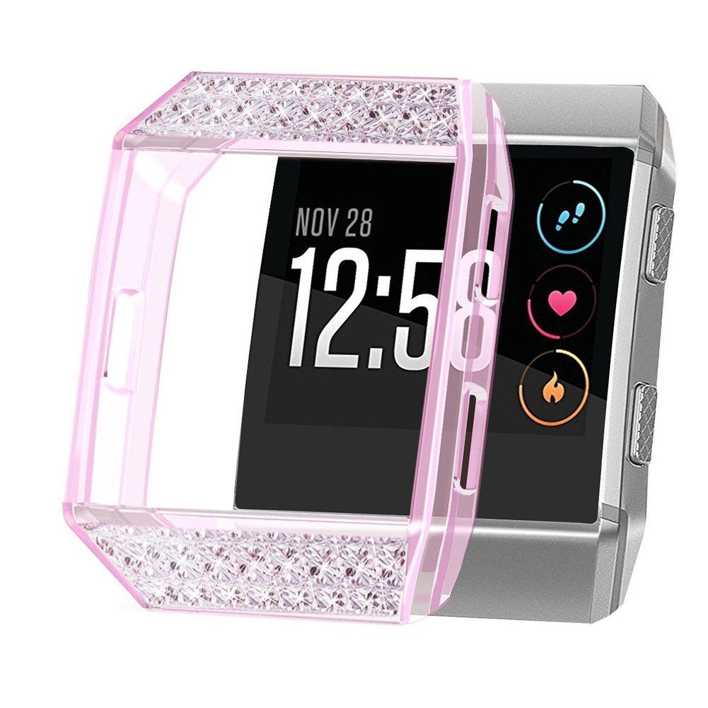 Fitbit Ionicカバーケース、oenfoto Tpuソフトアクセサリー保護ケースフレームカバーシェルfor Fitbit Ionic Smart Fitness Watch B078SNGCMW Crystal Pink with Rhinestone Crystal Pink with Rhinestone