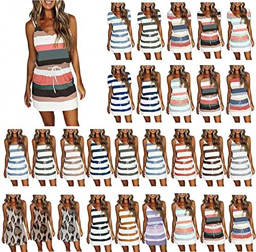 Summer Striped Sleeveless Shirt Dress for Women, V Neck Loose Slim Drawstring Sheath Mini Dresses
