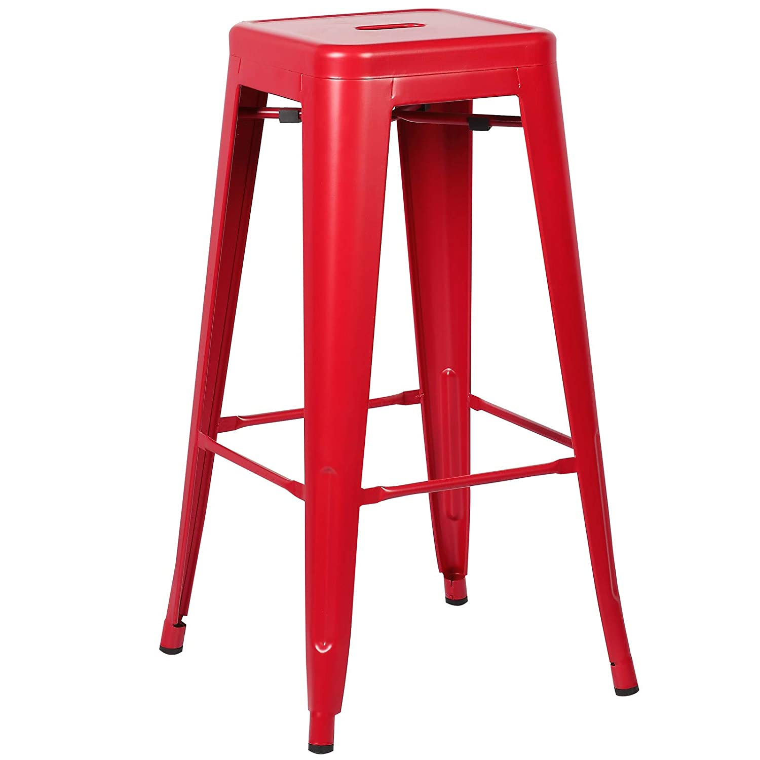 Poly and Bark Trattoria 30 Inch Counter Height Industrial Metal Bar Stool, Stackable, Red