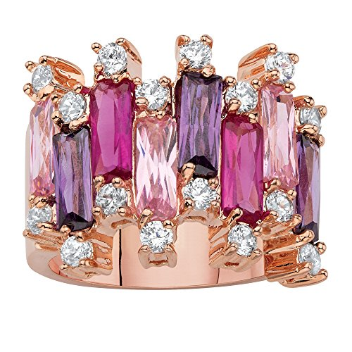 - Rose Gold-plated Emerald Cut Pink and Purple Cubic Zirconia Vertical Row Cluster Ring Size 10