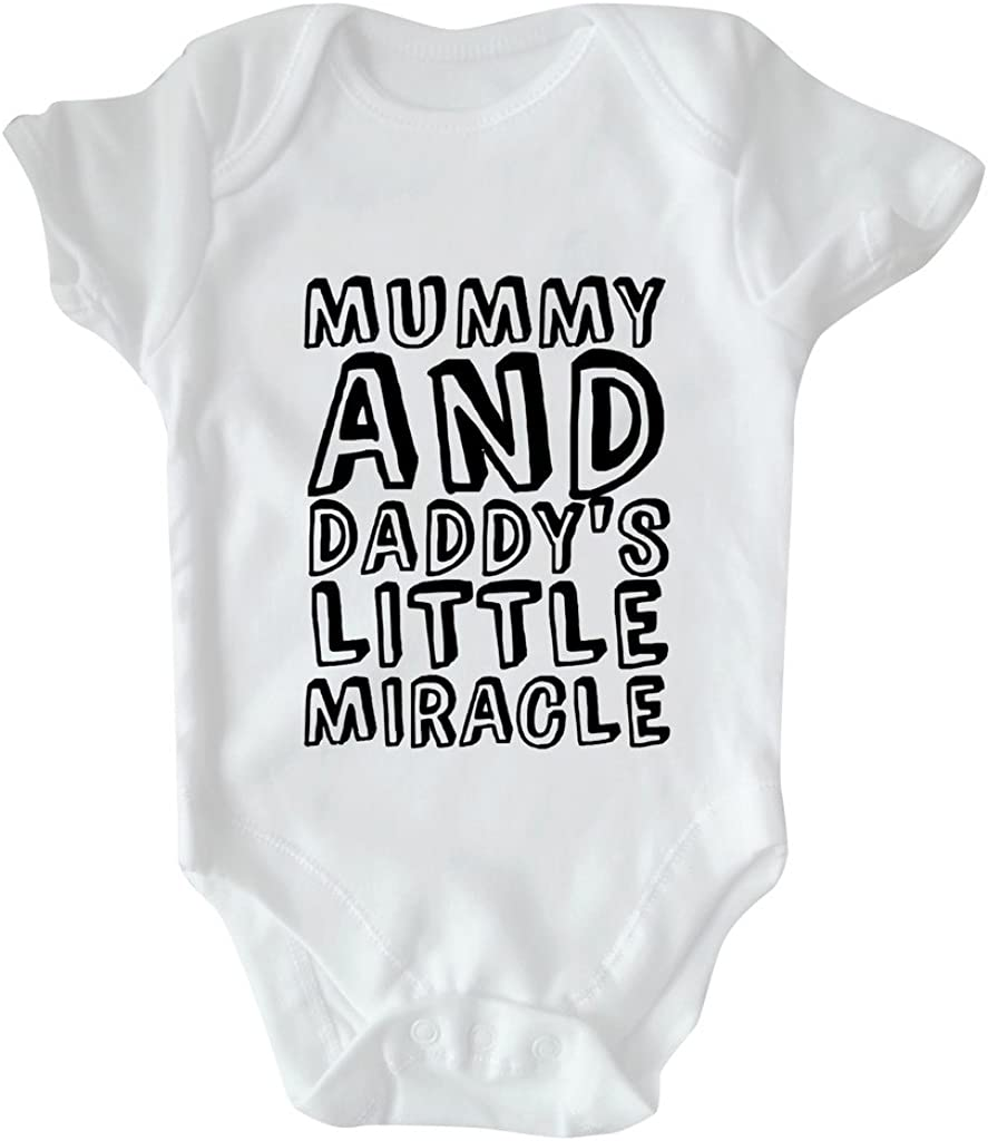 Mummy and Daddys Little Miracle RPS White Slogan Baby Vest