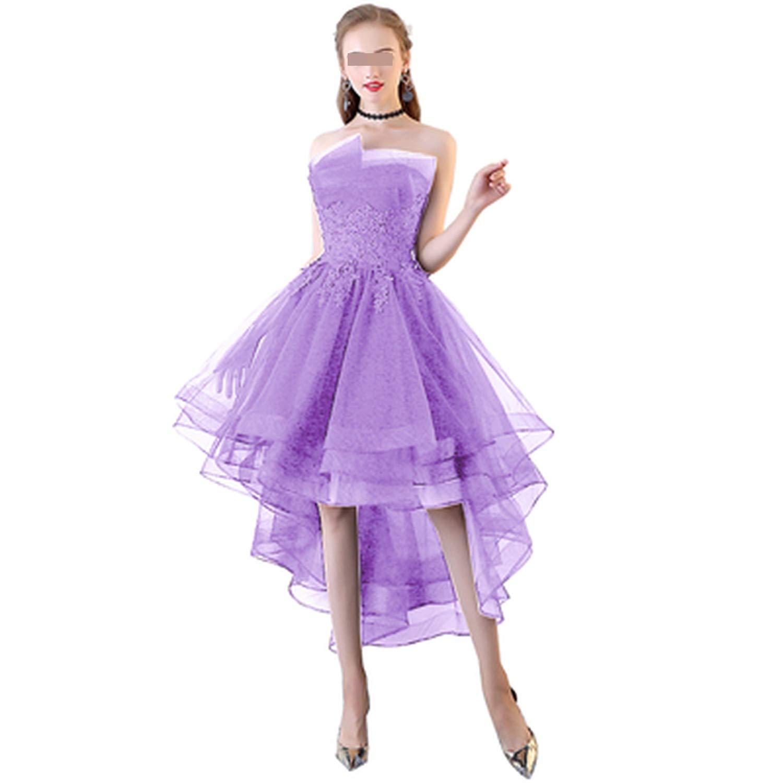 Purple Navy bluee Evening Dresses Short Front Long Back Lace Applique Strapless Vestidos de Festa Formal