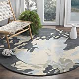 Safavieh Bella Collection BEL670A Handmade Modern Floral Abstract Art Steel Blue Wool Round Area Rug (6′ Diameter) For Sale