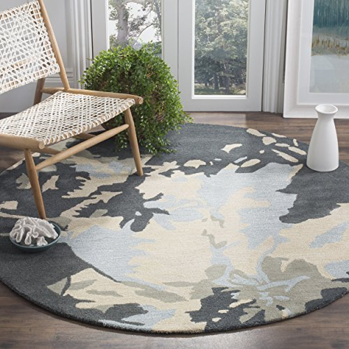 (Safavieh Bella Collection BEL670A Handmade Modern Floral Abstract Art Steel Blue Wool Round Area Rug (6' Diameter))