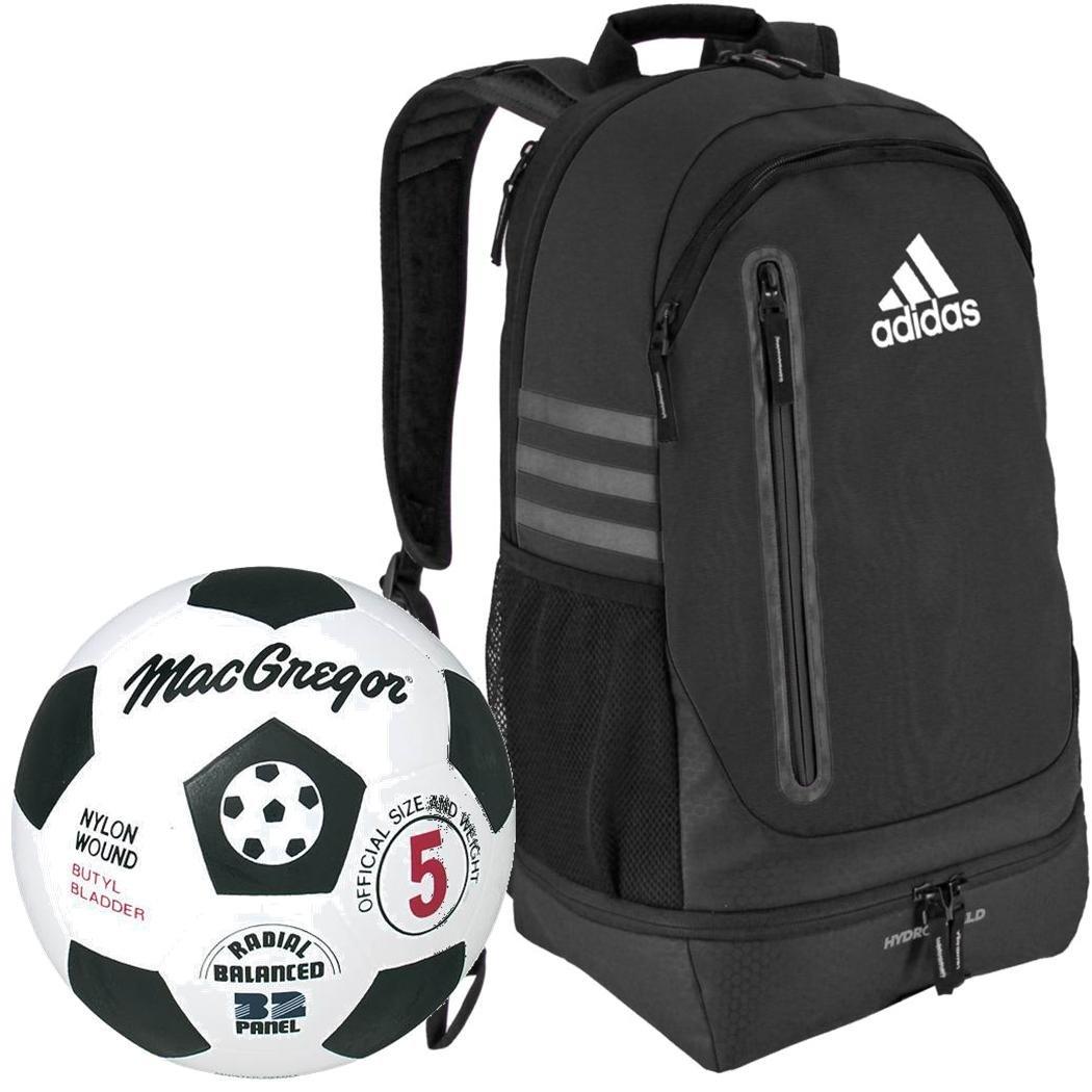 MacGregorブラック/ホワイトゴムサッカーボールバンドルwith aピボットチームサッカーバックパック B079YVVM1B