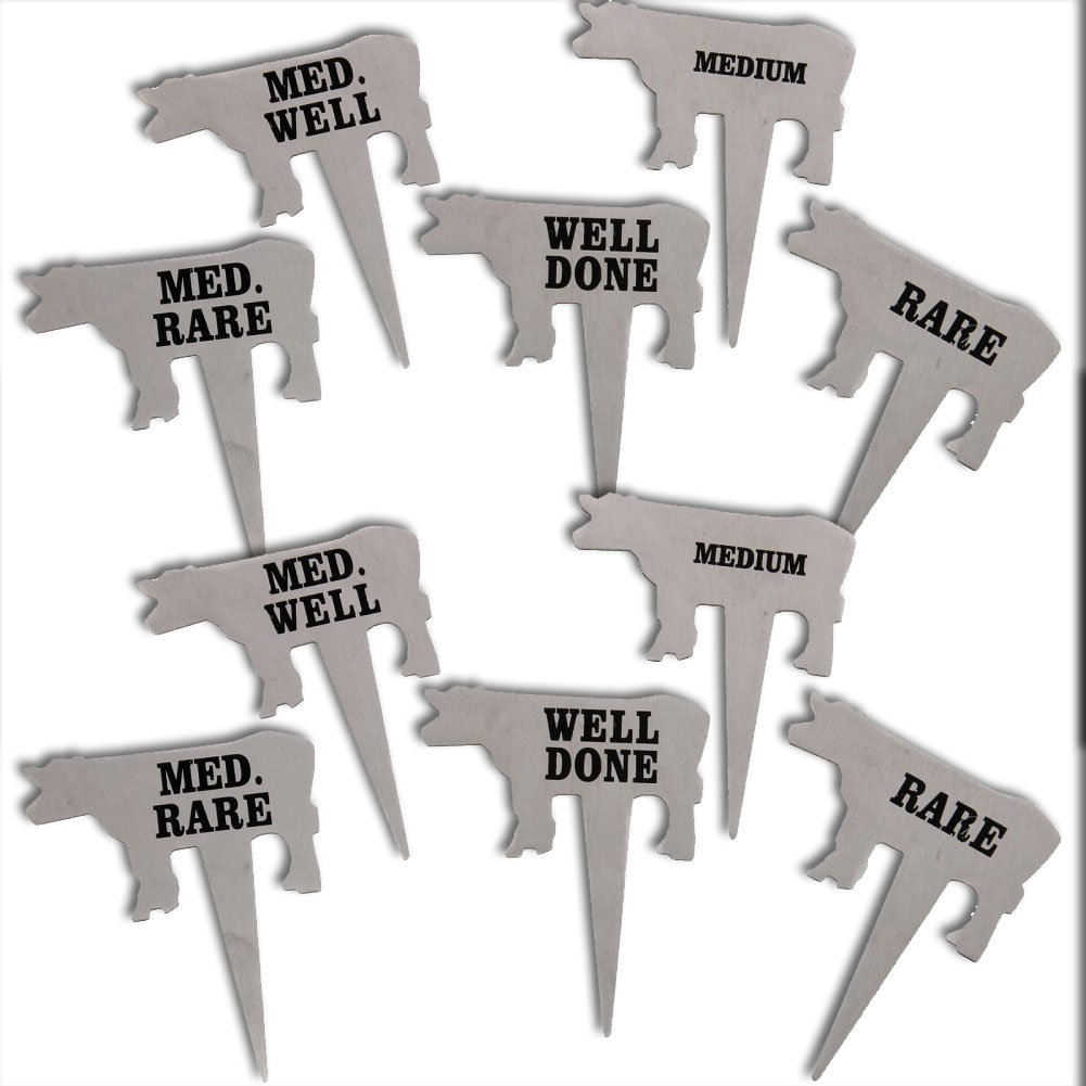 (Set/2) Grilling Preference Picks - Stainless Steel Cooked Meat Temp Markers