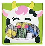 Adorable Collapsible Storage Cube with Front MESH VIEWING WINDOW to View Contents, Children's Room and Nursery, 11 in X 11 In, Kinden Products ((COW design))