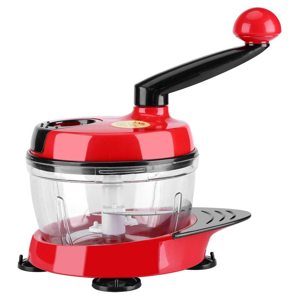 Robot da cucina manuale tritatutto trita cipolla tritacarne tritacarne con 3affettatrice Dicer, rosso HorseBiz 1804009