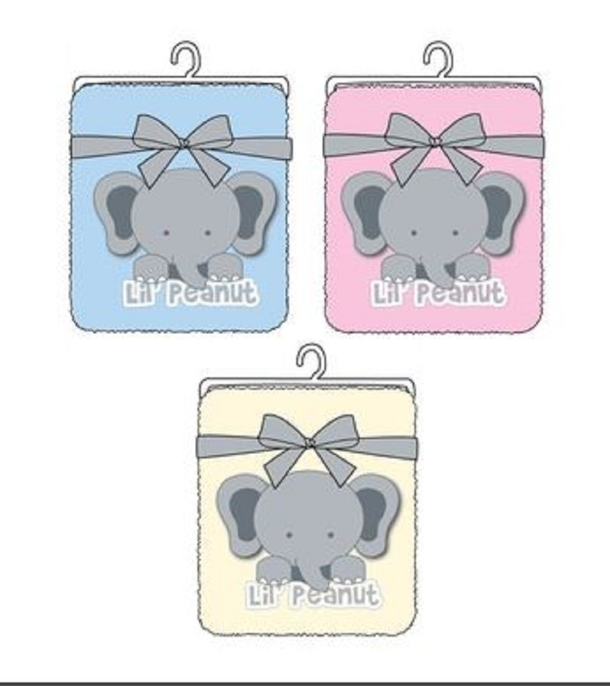 Coral Fleece Baby Blankets with Embroidery - Little Peanut Elephant 3 Colors Assorted - B2B Wholesale Case of 36 units by DDI
