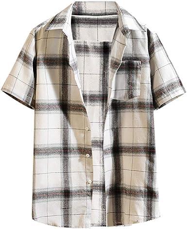 Camisa de Hombre Costuras a Cuadros Moda de Verano Manga ...