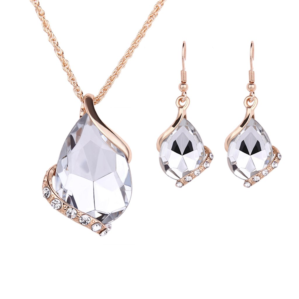 GaopaiCo Women Crystal Pendant Gold Plated Chain Necklace Earring