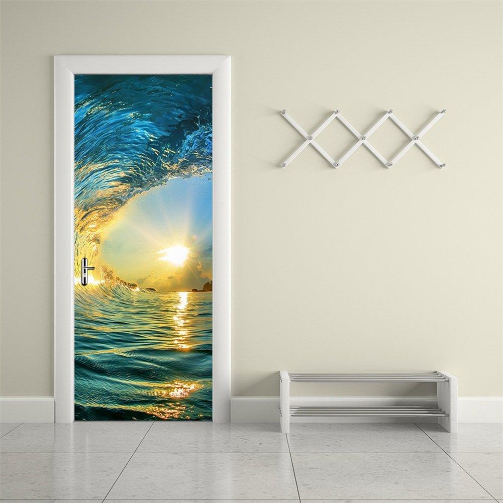 CaseFan Door Wall Mural Wallpaper Stickers--Ocean Wave Vinyl Removable 3D Decals 30.3x78.7'',Multicolor