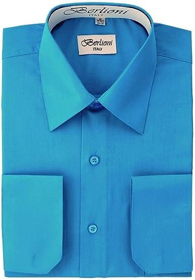 Berlioni Italy Mens Convertible Cuff Solid Long Sleeve Dress Shirt Rose