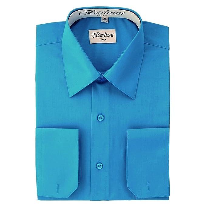 bca24f3c26fd Berlioni Italy Men's Convertible Cuff Solid Dress Shirt Turquoise-2XL  (18-18½)