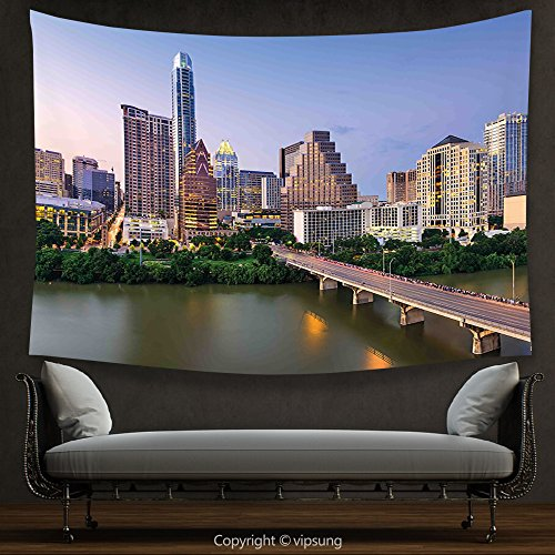 House Decor Tapestry Modern by Austin Texas American City Bridge over the Lake Skyscrapers USA Downtown Picture Multicolor Wall Hanging for Bedroom Living Room Dorm (Downtown Austin Halloween Parade)