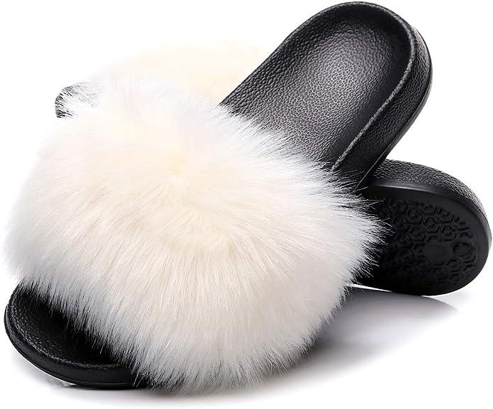 Fur Slippers Open Toe Fox Fur Beach Slides Womens Furry Flip Flops Fox Hair Shoes,7,6