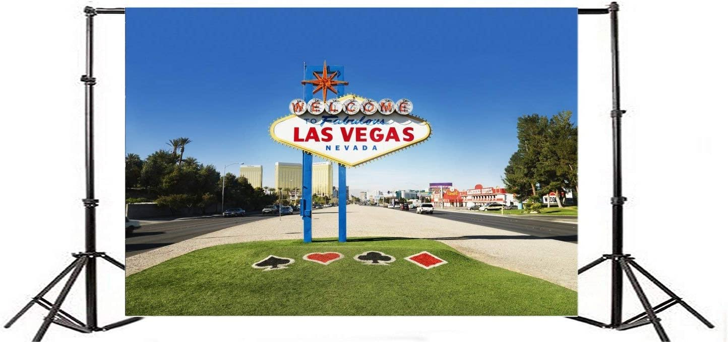 CdHBH 7x5FT Vinyl Photography Background Welcome to Fabulous Las Vegas Nevada Sign with Urban Buildings Horizontally Framed Shot Backdrops Wedding Party Travel Adult Art Portraits Photographic