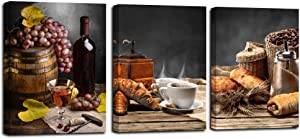 Red Wine Canvas Wall Art Vintage Bread Coffee Bean Pictures Still Life Painting Fruit Grape Grey Artwork Framed for Kitchen Dinning Room Bar Home Wall Decor, 12