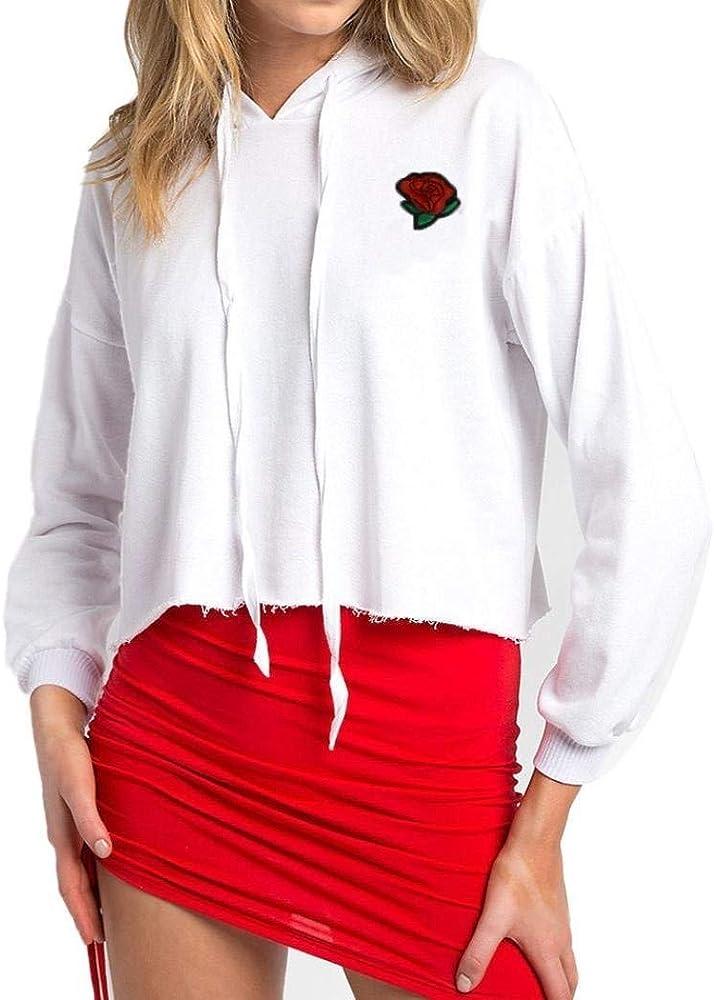 Mujer Hoodie Cortos Primavera Otoño Elegantes Camisa De Manga Larga Rosa Bordado Joven Sweatshirts Anchos Casual Moda Niña Camisas Camicia con Cappuccio Women (Color : Blanco, Size : S): Amazon.es: Ropa y