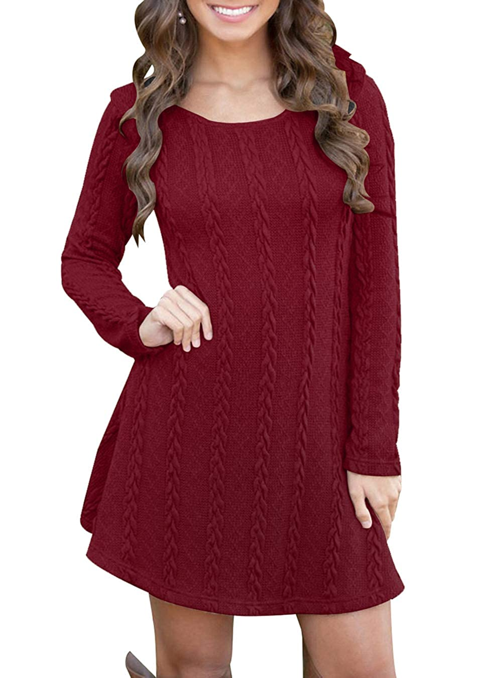 EFOFEI Womens Long Sleeve Knitted Casual Loose Round Neck Short Sweater Dress