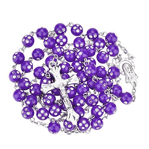 Necklace Opeof Women Catholic Jesus Cross Rhinestones Rosary Beads Pendant Necklace Jewelry - Purple