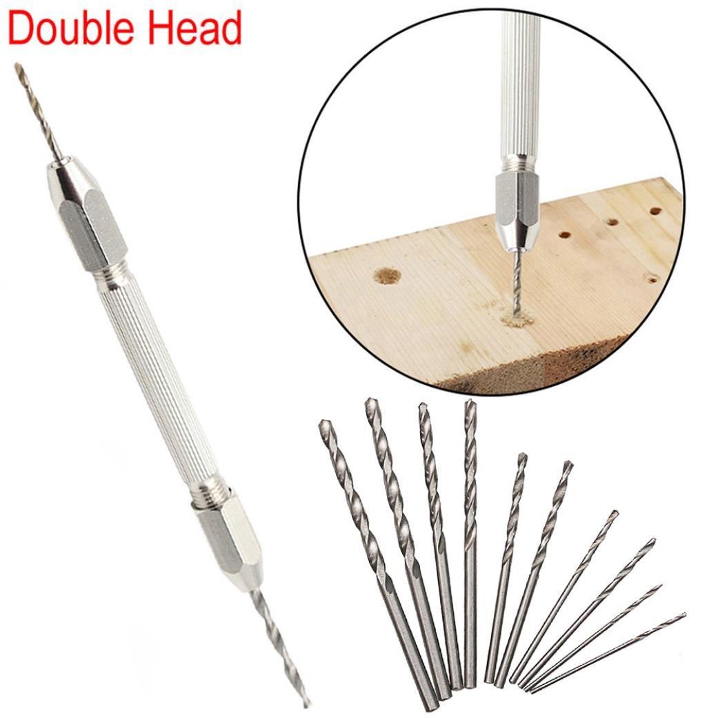 Twist Drill Bits Set,Y56 Double Head Micro Aluminum Hand Drill Keyless Chuck 10pc Twist Drill Bit Rotary