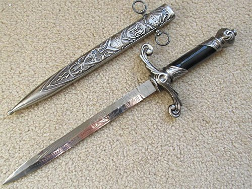 AIT Collectibles S0064 Silver HOLY Angelic Medieval Russian Dagger Sword W/SCROLLWORK Whirl -