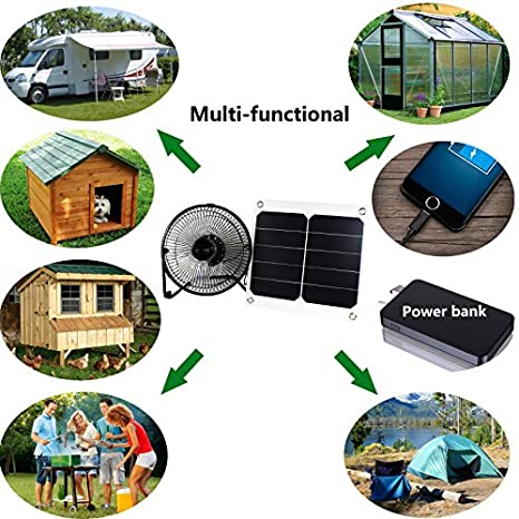 10W 5V Panel Solar Powered ventilador para Camping caravana barco perro de efecto invernadero casa pollo casa ventilador: Amazon.es: Amazon.es