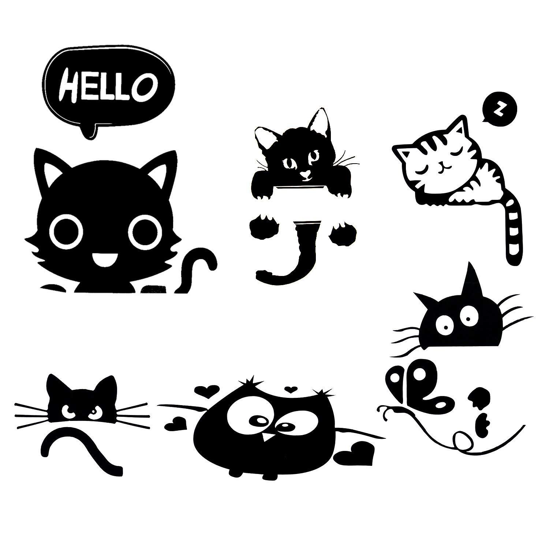 Amazoncom Removable Switch Sticker 6 Pcs Cute Black Cat Cartoon