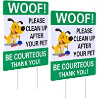 """WaaHome Pack of 2 Double Sided Woof Please Clean Up After Your Pet Yard Signs with Metal Wire H-Stakes, 8""""X12"""" Funny No…"""