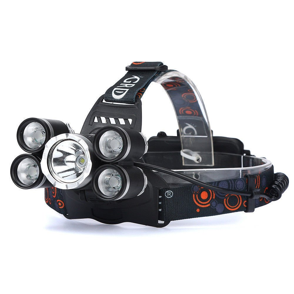 LED Headlamp Flashlight Kit, Portable Rechargeable Waterproof Adjustable Brightest Headlight, 10000-Lumen Head Light with 18650 Rechargeable Batteries for Hunting Fishing Camping Night-Work (5 Bulbs)