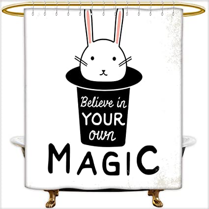 Qinyan Home Shower Curtain Believe In Your Own Magic Quite Print With Cute Rabbit