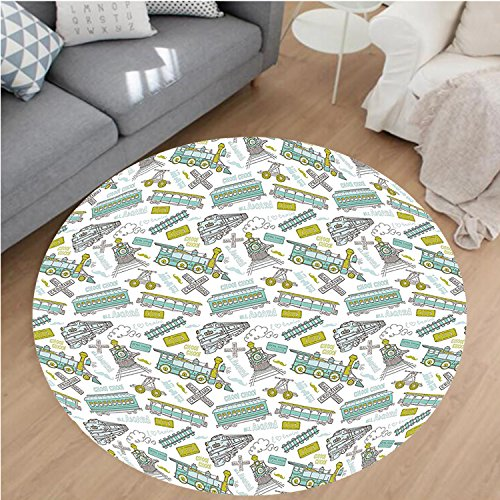 Nalahome Modern Flannel Microfiber Non-Slip Machine Washable Round Area Rug-Train Theme Kids Boy Pattern Blue Green Number Plate Vintage Print Apple Green Turquoise area rugs Home Decor-Round 40