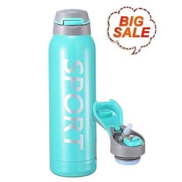 Luscreal Botella de Agua para Deportes de Acero Inoxidable Doble Pared de Aislamiento al Vacío, 100% Libre de BPA Antifugas, Ecologica, Reutalizable ...