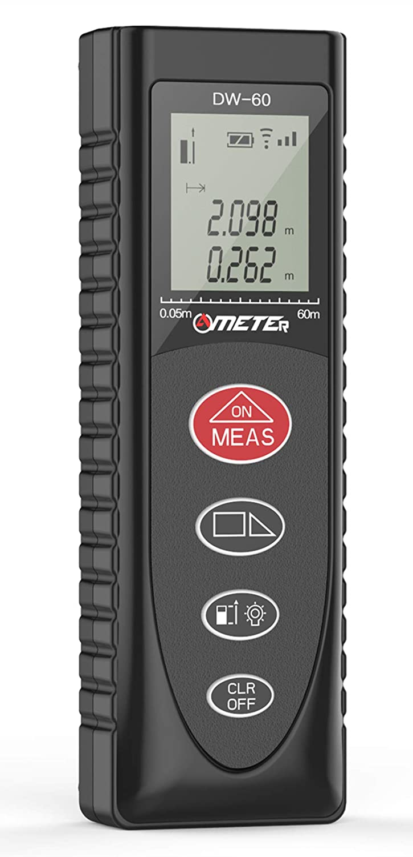 Electronic Laser Measuring Tool 196ft/60m M/In/Ft- Ameter Backlit LCD Laser Distance Measure, Area Measurement, Volume Measurement, Building Measurement, Room Measurent.Kids Measure Tool