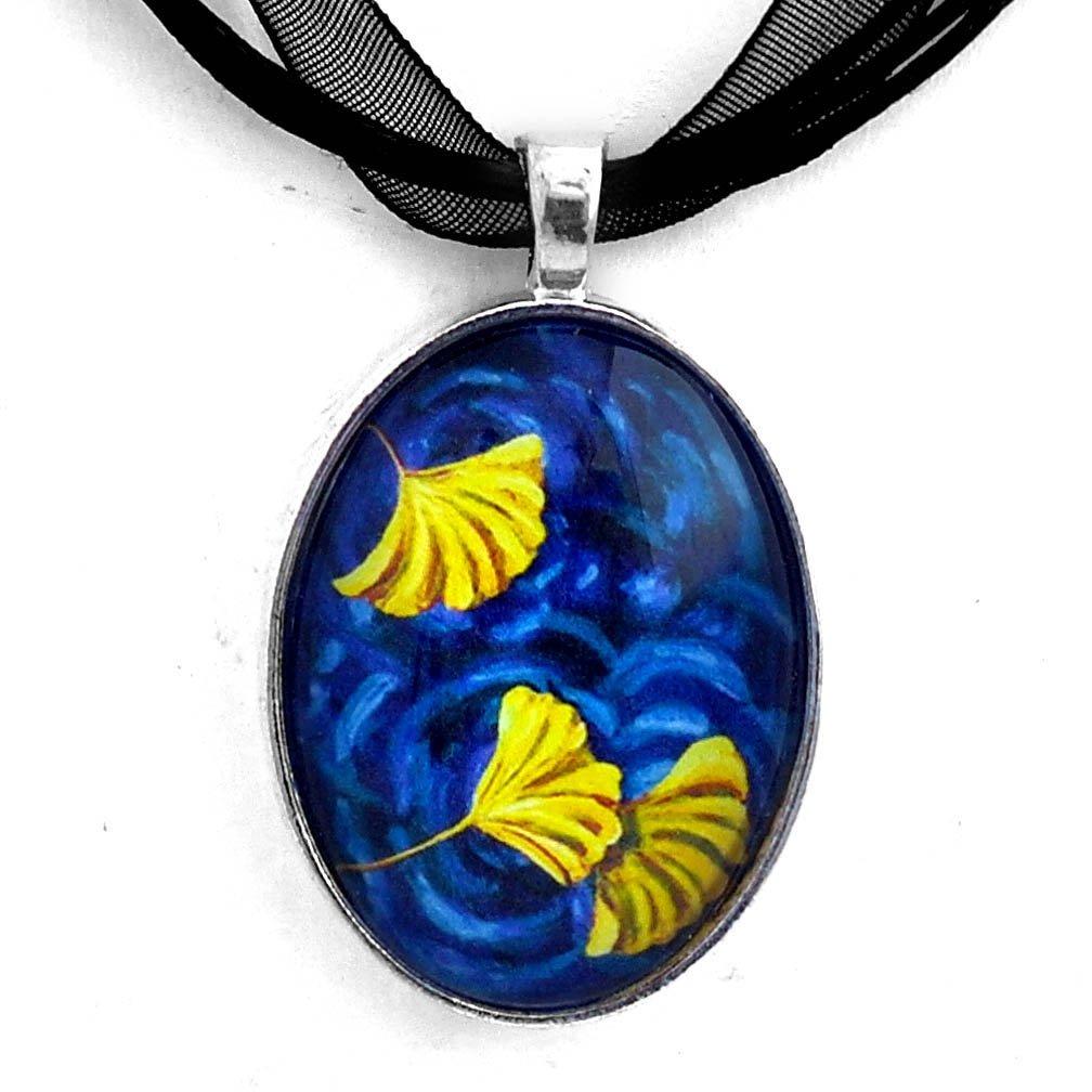 Laura Milnor Iverson Gingko Necklace Ginkgo Leaves Yellow Indigo Blue Zen Water Art Pendant Handmade Jewelry
