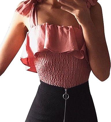 Escote en v Mujer, Covermason Camisa de Manga Corta sin Mangas con Cuello Cuadrado, Manga Corta, para Mujer: Amazon.es: Ropa y accesorios