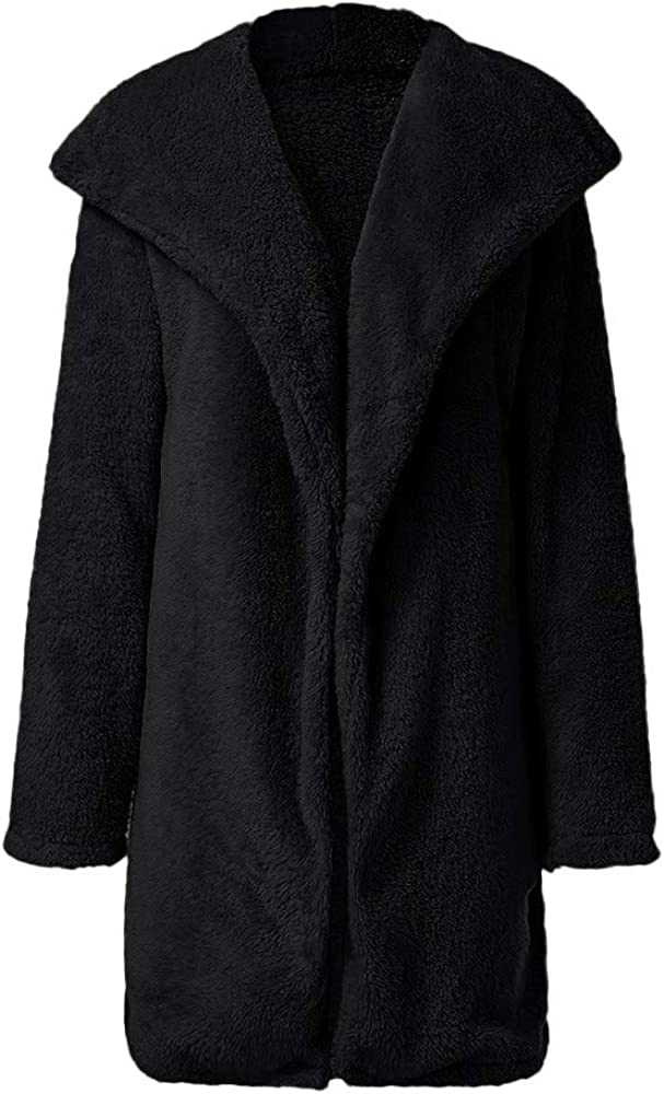HOOUDO Women Jacket Coat Autumn Winter Ladies Warm Artificial Wool Cardigan Overcoat Lapel Long Solid Outerwear Black