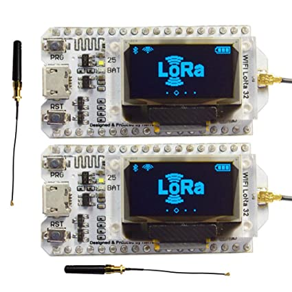 2Sets 868MHz-915MHz SX1276 ESP32 WiFi Bluetooth LoRa Module Development  Board with 0 96 OLED Display & Antenna Transceiver IOT for Arduino LoraWan