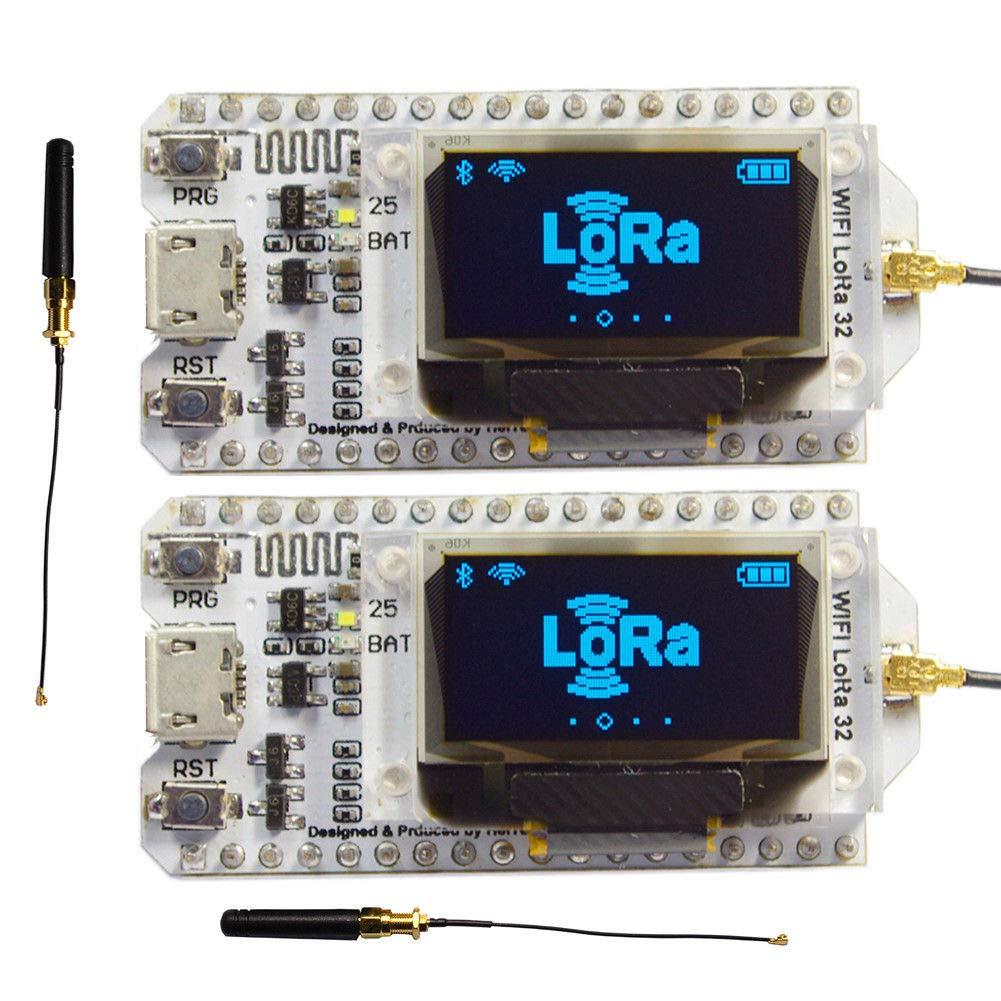 2sets 868mhz-915mhz Sx1276 Esp32 Wifi Bluetooth Lora Modulo Placa De Desarrollo Con 0.96 Pantalla Oled Y Transceptor De