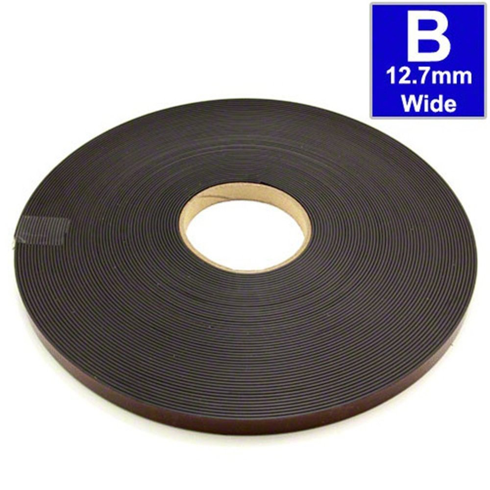 Ruban adh/ésif aimant/é 1,5mm x 12,7mm x 5m pour des solutions de fixation flexible Rouleau type A et B Bande magn/étique autocollante pour moustiquaire
