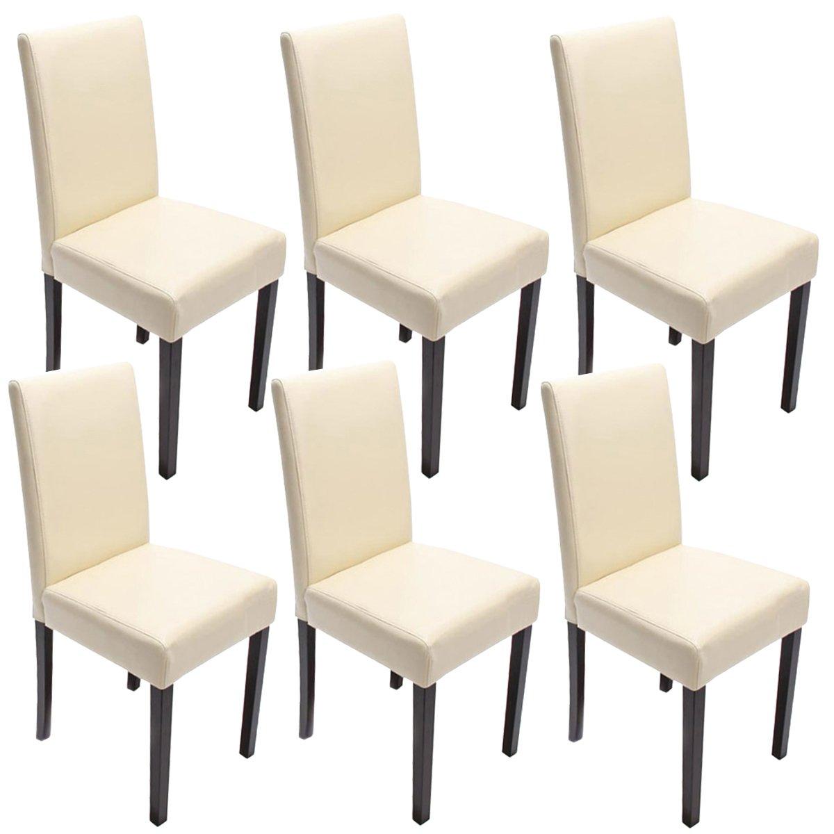 Mendler Lot de 6 chaises de séjour Littau, Cuir reconstitué crème ...
