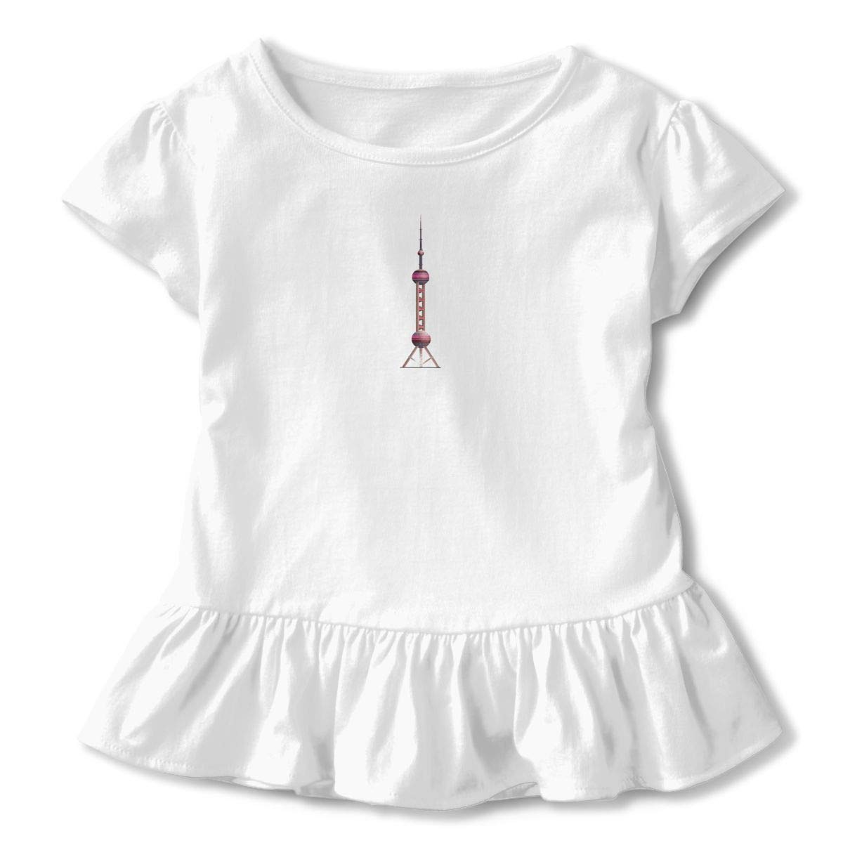 Oriental Pearl Shirt Cartoon Little Baby Girls Flounced T Shirts Cotton Tops for 2-6T Baby Girls