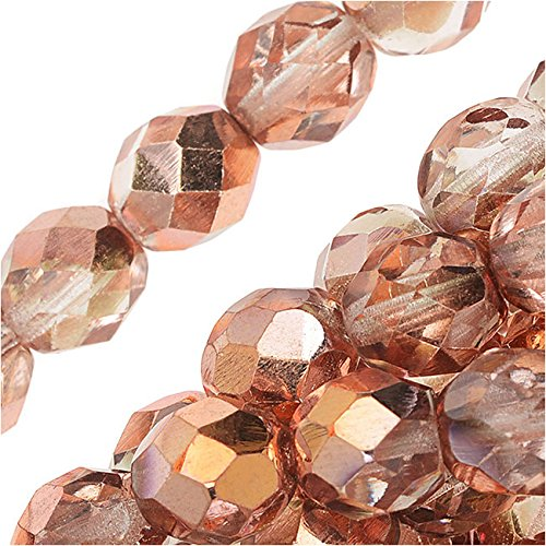 Czech Fire Polished Glass Beads 8Mm Round Apollo Gold  25
