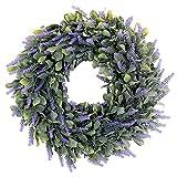 "20"" Artificial Lavender Wreaths Outdoor UV Resistant Flowers Arrangements Boxwood Wreath Front Door Wall Home DIY Faux Frosted Dusty Green Wreath Floor Garden Office Wedding Decor in Purple"