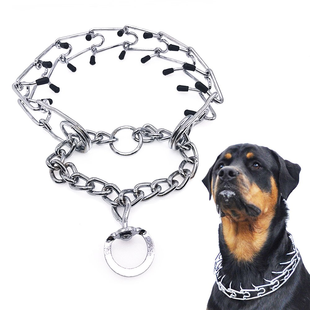 Mayerzon Dog Prong Collar, Classic Stainless Steel Choke Pinch Dog Chain Collar with Comfort Tips, 5 (M-19.7'')