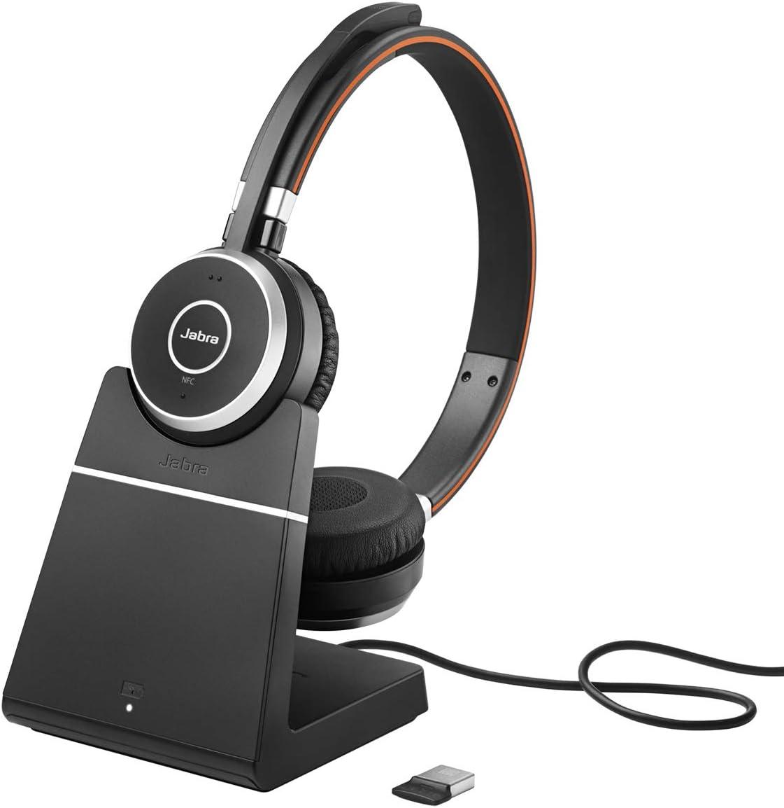 Jabra Evolve 65 Wireless Stereo On Ear Headset Microsoft Teams Zertifizierte Kopfhörer Mit Langer Akkulaufzeit Und Ladestation Usb Bluetooth Adapter Schwarz Elektronik